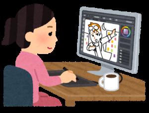 パソコンで絵を描くイラストレーターのイラスト