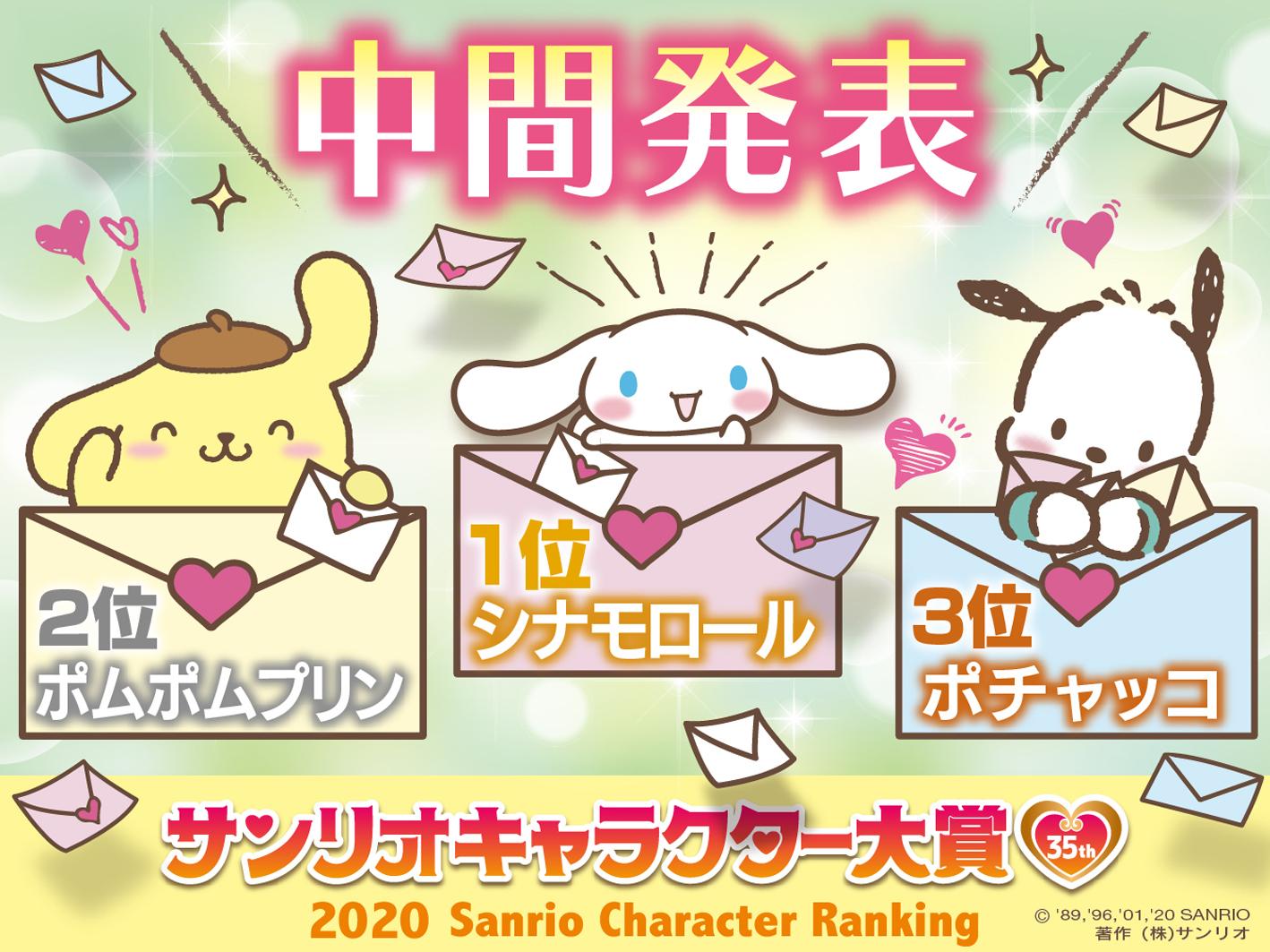 「サンリオキャラクター大賞」中間結果発表!TOP3を犬キャラクターたちが独占
