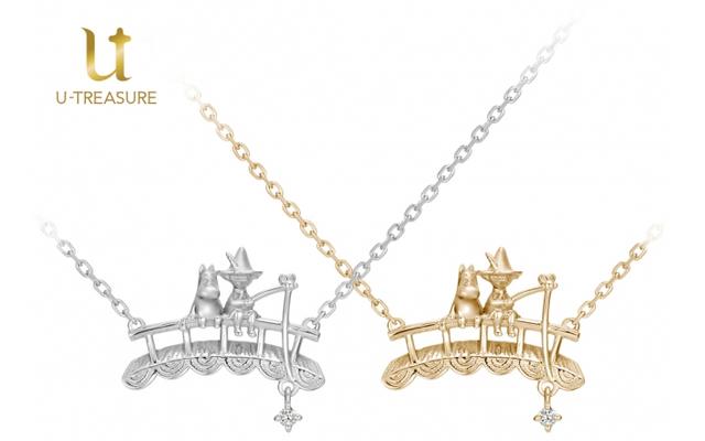 ムーミン&スナフキンが釣りをする姿がネックレスになって登場!釣り竿の先で揺れるダイヤモンドがポイント