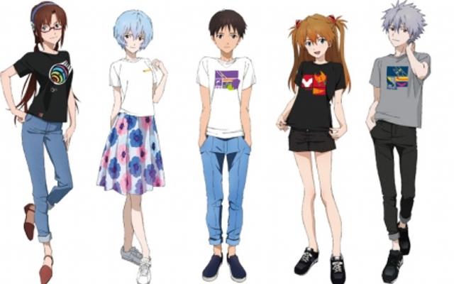 『エヴァ』限定Tシャツの販売イベント開催!ポップな服装が可愛い5人のパイロットの描き下ろしも