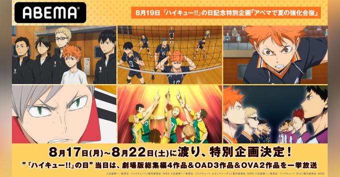 『ハイキュー!!』OAD&OVA・劇場版総集編など一挙放送!『声優と夜あそび』村瀬歩さん、石川界人さん、浪川大輔さんの共演も