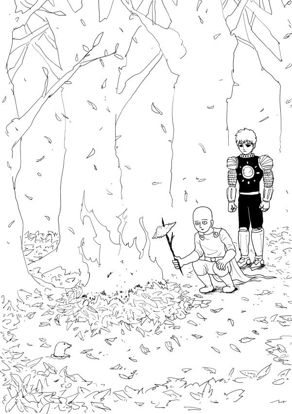 『ワンパンマン』ONE先生が焼き芋を楽しむサイタマ&ジェノスのイラスト公開!
