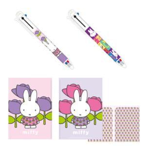 上)●シャープペンシル付き3色ボールペン 下)●Wポケットクリアファイル
