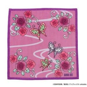 鬼滅の刃×ANNA SUI マイクロファイバーハンカチ 胡蝶姉妹 ピンク