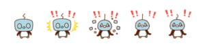 「動く!カナヘイ×ポケモンゆるっとスタンプ」▼スタンプアニメーション例:コオリッポは、顔の氷が砕けるほど、びっくり!