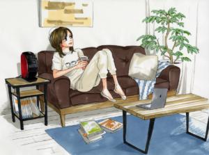 「ネスカフェ」×「働きマン」描き下ろしイラスト