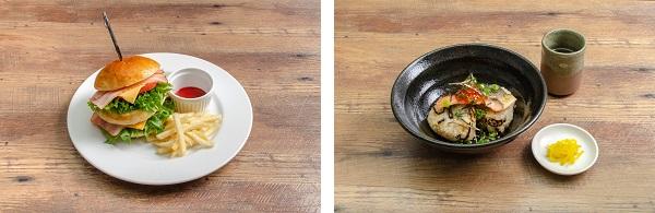 「セガコラボカフェ 呪術廻戦」虎杖のダブルインパクトバーガー・狗巻のおにぎりだし茶漬け
