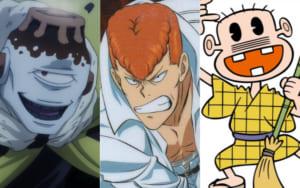 左から「呪術廻戦」漏瑚、「幽☆遊☆白書」桑原和真、「平成天才バカボン」レレレのおじさん