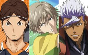 左から「ハイキュー!!」東峰旭、「テニスの王子様」白石蔵ノ介、「機動戦士ガンダム 鉄血のオルフェンズ」オルガ・イツカ