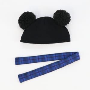 ポンポンニット帽&マフラーセット(青・セット内容)