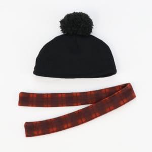 ポンポンニット帽&マフラーセット(赤・セット内容)