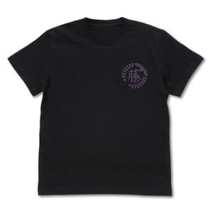藤の花の家紋 Tシャツ 黒 フロント