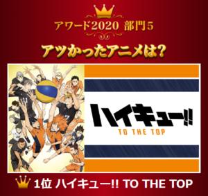 「dアニメストアアワード2020」アツかったアニメ1位 ハイキュー!! TO THE TOP