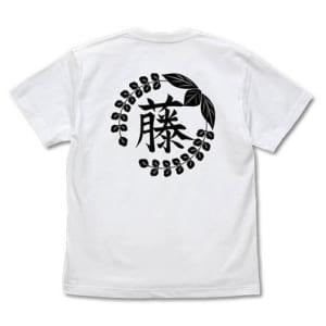 藤の花の家紋 Tシャツ 白 バック