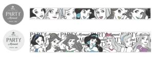 「ディズニープリンセス パーティーモーメント」マスキングテープ20(幅2×500cm)495円/マスキングテープ35(幅3.5×500cm)693円