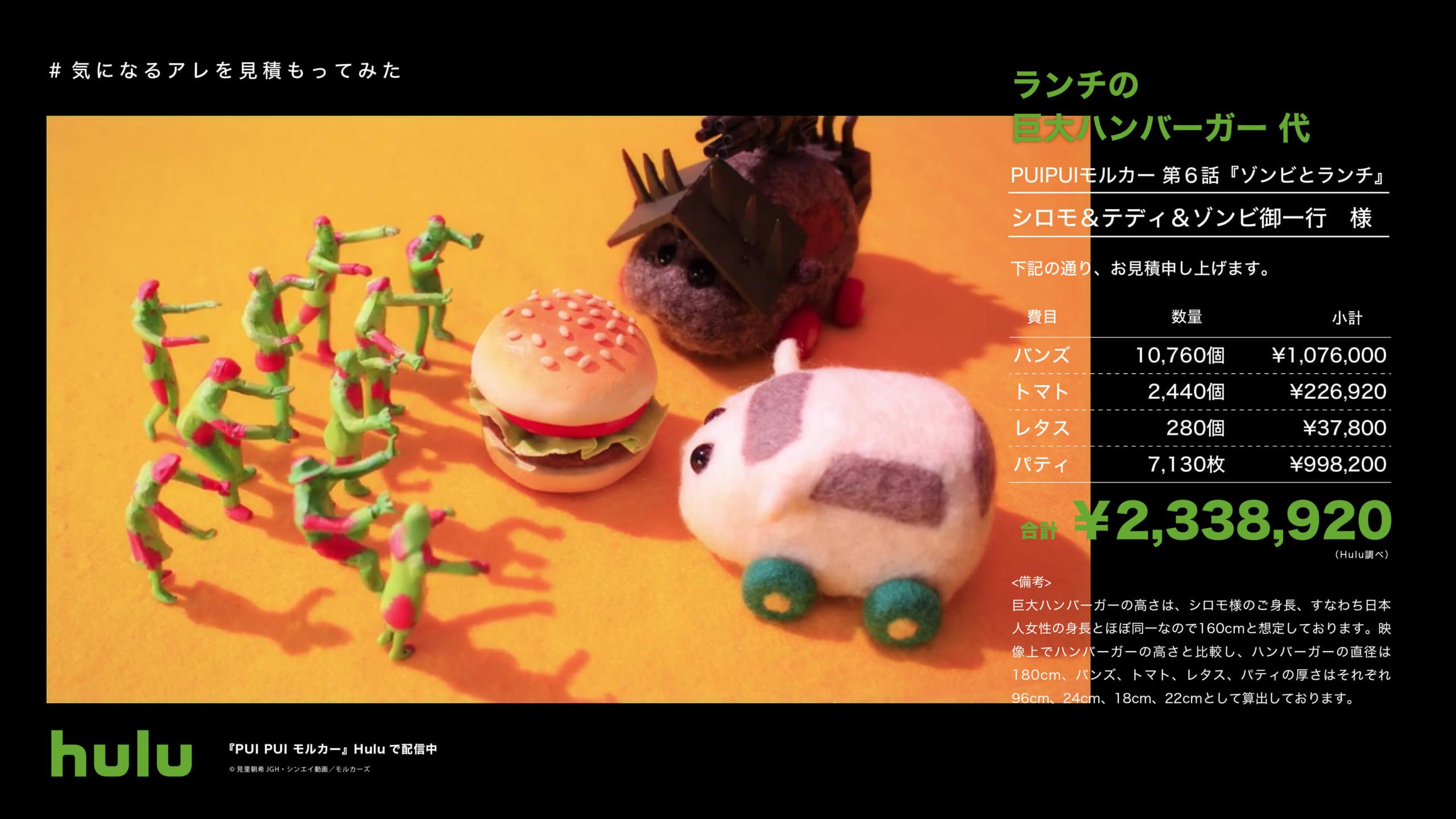 「銀魂」山崎のあんぱん生活代、「モルカー」巨大ハンバーガー代を「Hulu」が調べてみた!