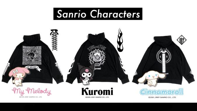 「サンリオ」×「KRY clothing」シナモンやマイメロがブラックなロックスタイルに!