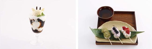 左:潑春のコーヒーミルクゼリー 右:マブダチトリオの3色団子