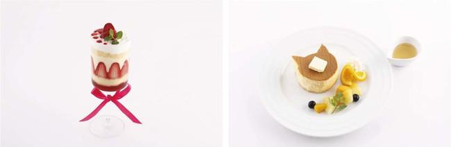 左:透のいちごショートケーキ 右:夾の猫パンケーキ
