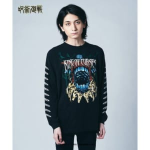 「呪術廻戦」×「glamb」Sukuna long sleeves T 黒 着用イメージ・正面
