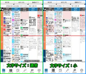 「テレビ番組表」番組表文字サイズ変更時