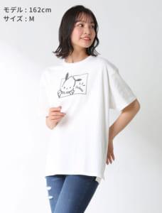 サンリオキャラTシャツ(ポチャッコ)モデル着用 ホワイト