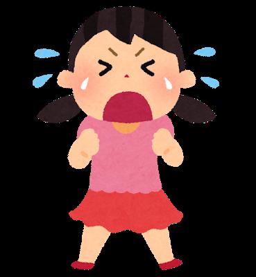 大声で泣く女の子のイラスト
