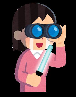 双眼鏡とペンライトを持つアイドルファンのイラスト
