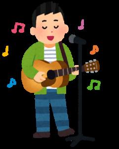 立って弾き語りをする歌手のイラスト(男性)