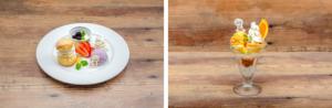 「セガコラボカフェ 憂国のモリアーティ」ボンドのスコーン&ヨーグルトプレート・ジョンのオレンジヨーグルトパフェ