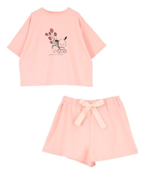 「はぴだんぶい×titivate」ポチャッコプリントルームウェア ピンク