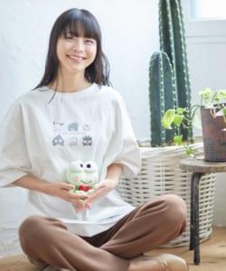「はぴだんぶい×titivate」はぴだんぶいプリントオーバーTシャツ オフホワイト