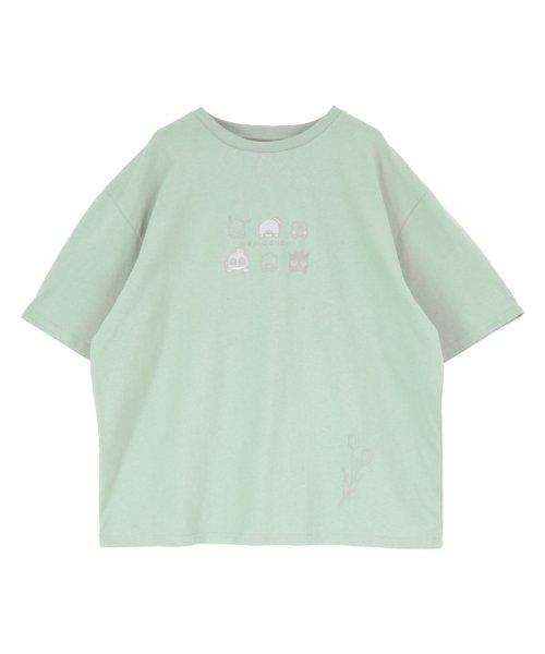 「はぴだんぶい×titivate」はぴだんぶいプリントオーバーTシャツ ミントグリーン