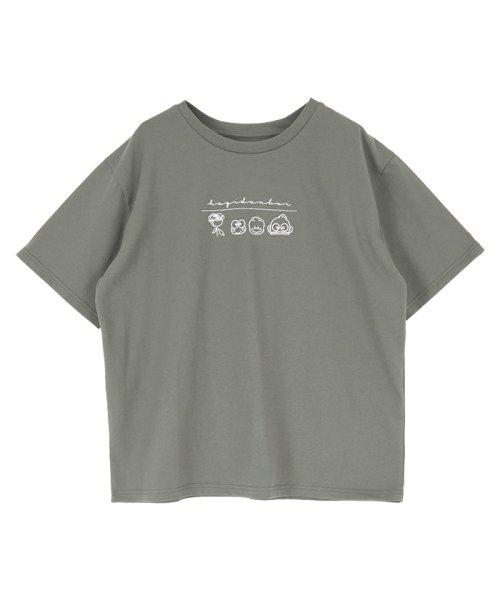 「はぴだんぶい×titivate」はぴだんぶいプリントTシャツ チャコール