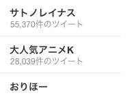 「大人気アニメK」Twitterトレンド