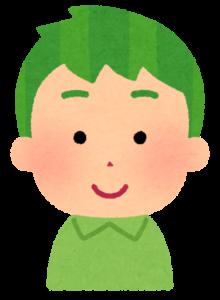 髪が緑色の男の子のイラスト