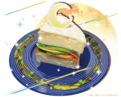 「ハイキュー!! TO THE TOP×文房具カフェ」月島のショートケーキみたいなサーモンとアボカドのおかずパンケーキ