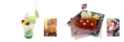 「アイドリッシュセブン in NAMJATOWN ~6th Anniversary Festival~」(左)千の星空メロンフロート☆、(右)トウマの真っ赤なトマトかつプレート