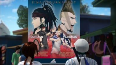 「リョーマ! The Prince of Tennis 新生劇場版テニスの王子様」予告映像 ポスターを見上げるリョーマ&桜乃