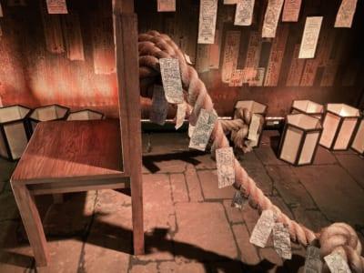 「アニメ 呪術廻戦展」虎杖が座っていたイス、つながっている綱もリアル