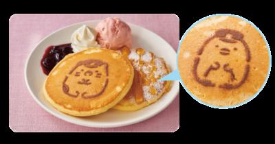 「すみっコぐらし×南海電車」タリーズコーヒーPAUSE なんばパークス店・なんばEKIKAN店 ぺんぎん?・ねこのブルーベリーハニーパンケーキ with T'sアイス