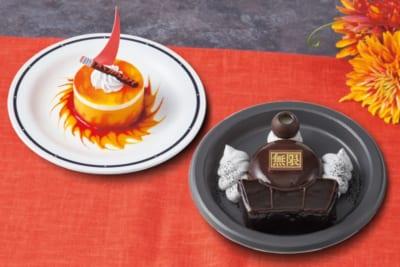 「鬼滅の刃」×「ユニバーサル・スタジオ・ジャパン」炎柱のオレンジレアチーズケーキ、闇を往く無限列車 ~カシスムース&チョコレートケーキ~