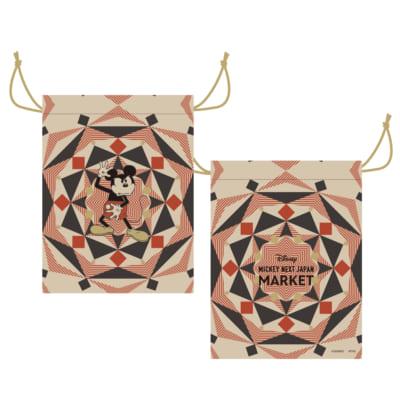 「MICKEY NEXT JAPAN MARKET」巾着(綿/W16×H21cm) 880円