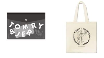 「トムとジェリー」カフェ  ケース付きメモ帳、トートバッグ