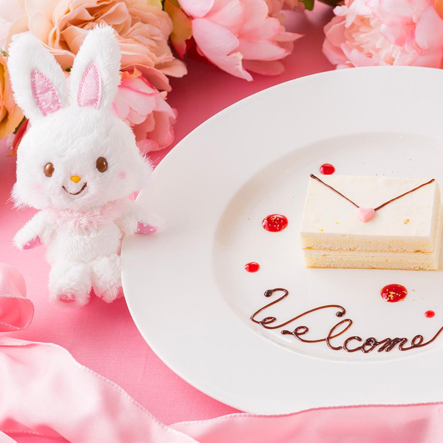 スイーツブッフェ ~ハローキティ&ウィッシュミーメルのふわふわリボンパーティ~ウエルカムプレート(10月)ウィッシュミーメルからの招待状~木苺のソースとともに~