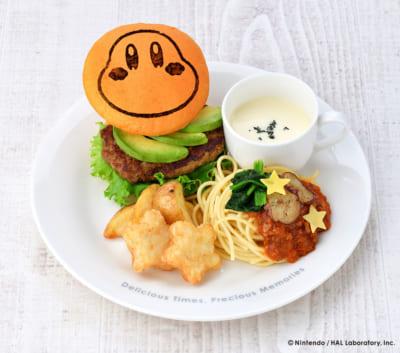 ワドルディバーガー&ミートパスタ 温野菜のせ