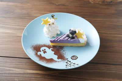 「ひつじのショーン ファームカフェ」2021年秋限定メニュー:ショーンの紫いもとさつまいものハロウィンタルト