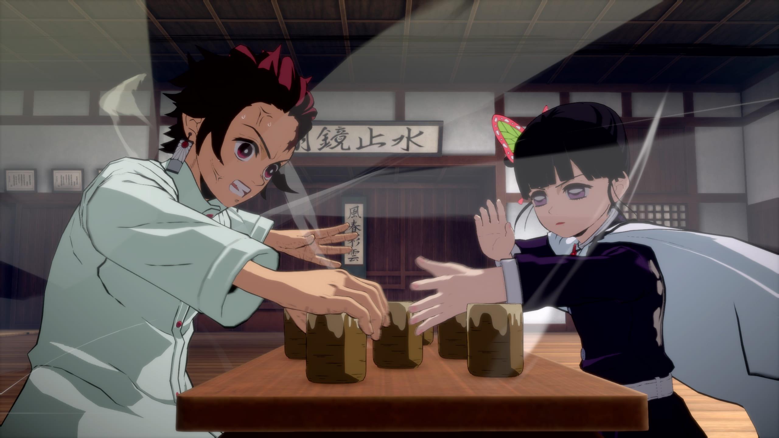 ゲーム内スクリーンショット -ソロプレイモード「蝶屋敷」-炭治郎とカナヲがバトル