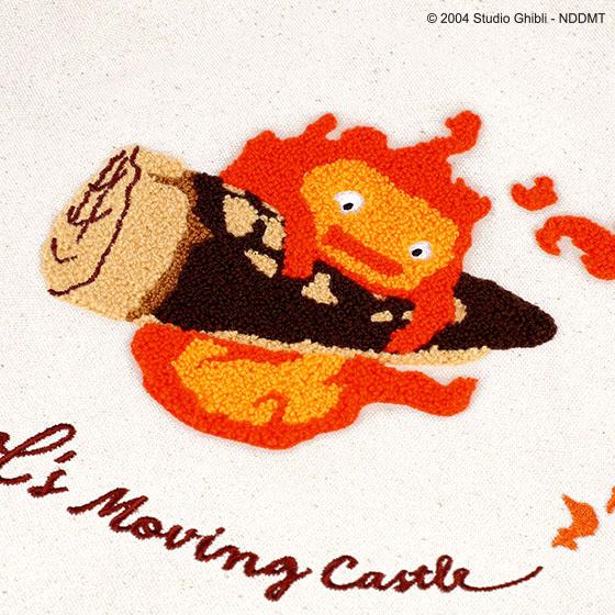 ハウルの動く城 縦型刺繍帆布トート あわてるカルシファー:刺繍アップ