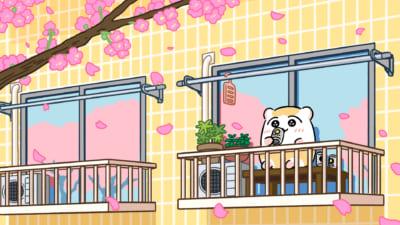「ちこまる」イラスト「桜を眺めながらビールをプシュッ」